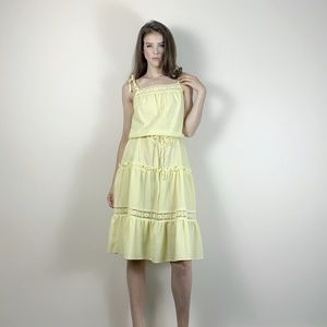 vintage 70's yellow sundress with crochet detail.